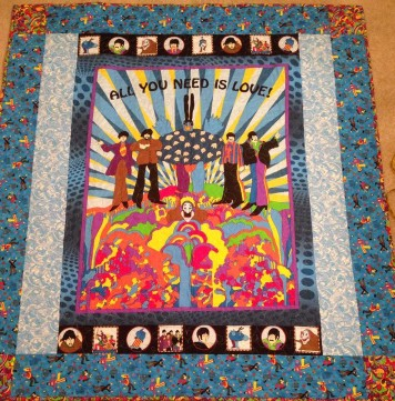 Beatles Yellow Submarine All you need is love quilt fabric VIP Cranston Village Blue Meanies
