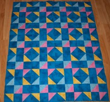 Shoo Fly quilt Moda Marbles blue yellow pink simple blocks that look complicated