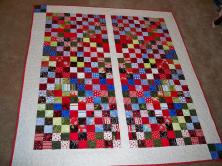 White Red quilt Mirror Reverse Checkerboard 4 patch four patch Charm pack nickel square