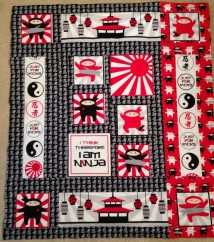 I Am Ninja Robert Kaufman fabric quilt ninjas ninja panel red black and white Japan yin yang lanterns