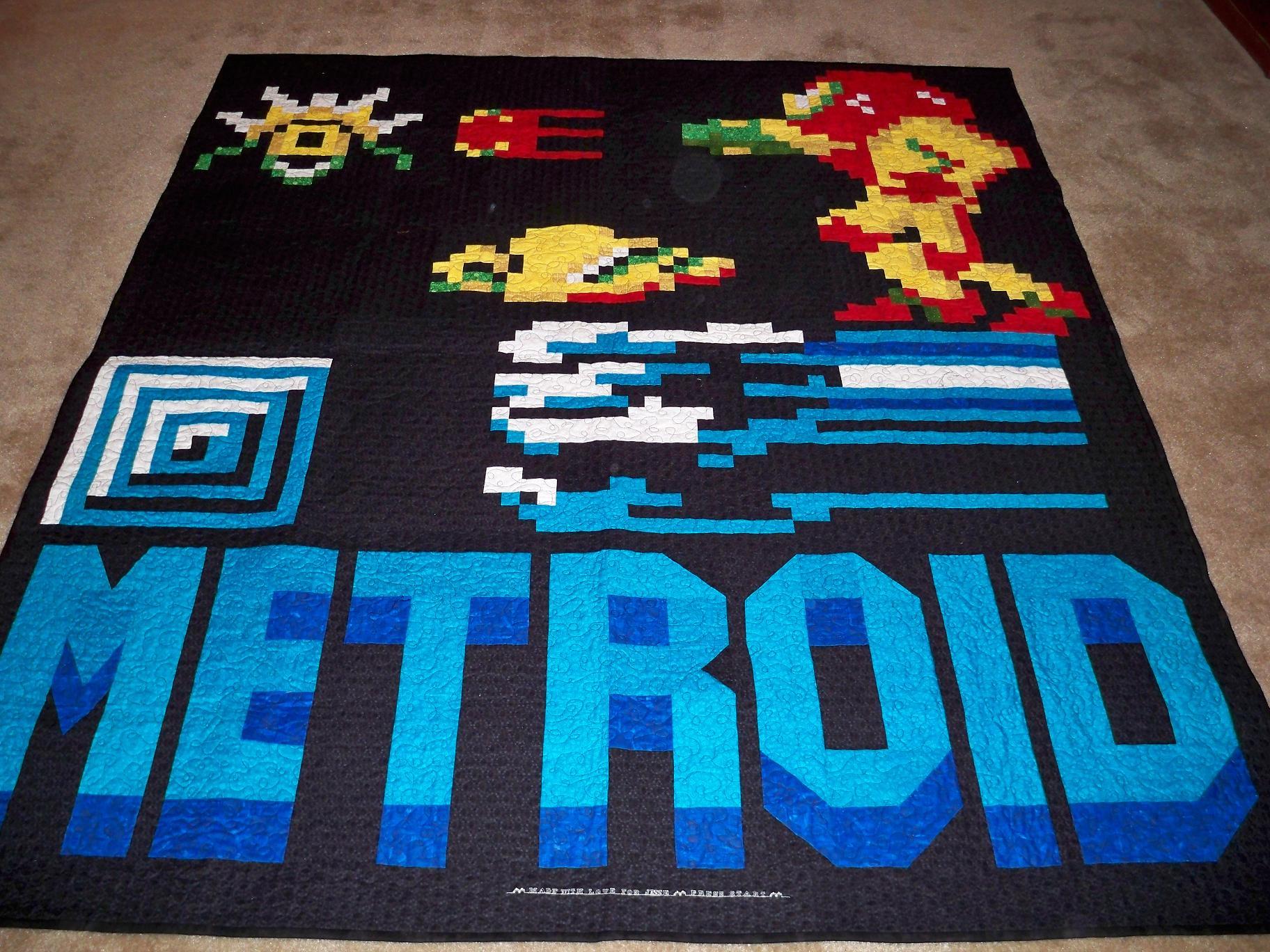 Metroid quilt video game Nintendo blanket craft Samus & Metroid quilt | Gorram Quilts