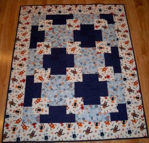 Robot quilt baby cogs blue white blanket
