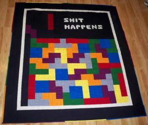 Tetris quilt blanket Nintendo video game shit happens Kona Cottons solid fabric fabrics