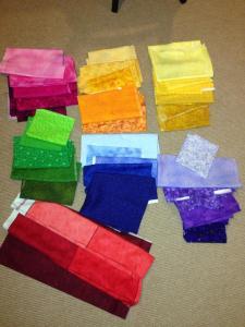 Tetris quilt pattern block 3D video game Nintendo fabric fabrics rainbow shades