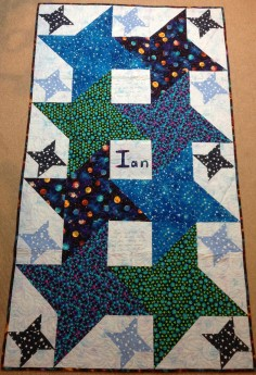 Star quilt 4-pointed stars interlocking stars planet galaxy kid quilt bright