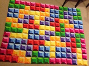 Tetris quilt Nintendo Video Game 3-D 3D block layout rainbow