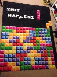 Tetris quilt 3D fabric shading white letters machine applique fusible web Nintendo video game trippy