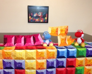 Tetris quilt yoshi fight shy guy Katie Clark Art painting brawl Nintendo Mario video games