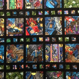 Batman fabric Marvel DC superhero superheroes film strip Michael Miller black