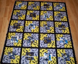 Batman fabric Marvel DC superhero superheroes grey yellow framed block quilt quilts