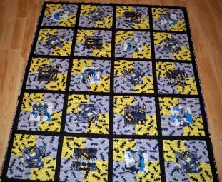 Batman fabric Marvel DC superhero superheroes grey yellow framed block quilt quilts