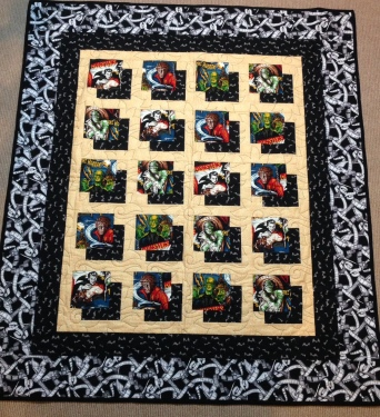 Monster Mash fabric quilt Dracula vampire Frankenstein monster mummy Wolfman bat bats film strips popcorn classic monster movies