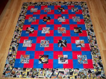 Superman fabric quilt Marvel DC superhero superheroes red blue Superman logo