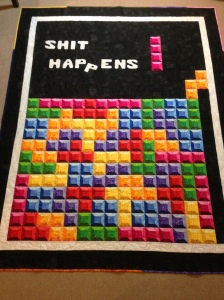 Tetris quilt Tetrino Rainbow Shit Happens Nintendo Video Game Mario 3-D 3D block