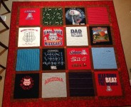 t-shirt tshirt quilt UA University of Arizona Arizona State ASU WSU Sundevils Sparky Wildcats Bear Down Memory quilt fusible interfacing