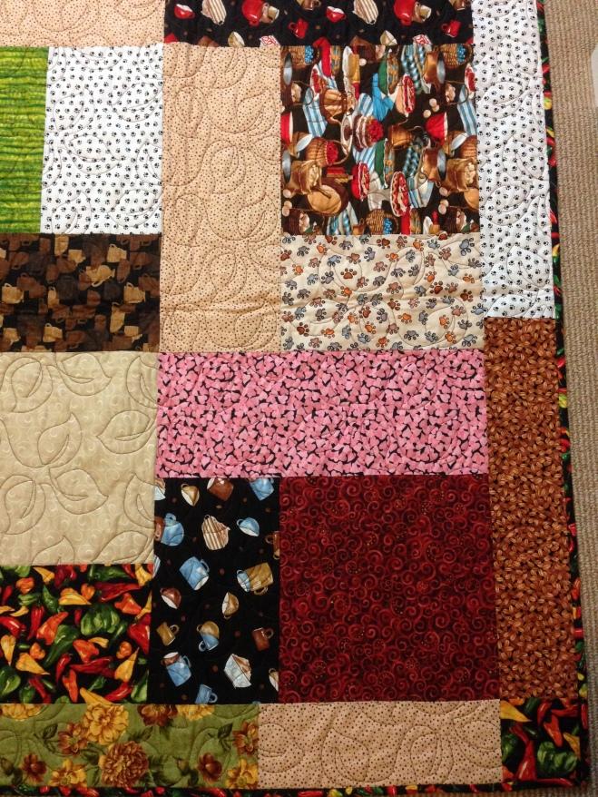 Turning Twenty 20 quilt coffee fabric kokopelli chilis southwestern dog paw prints chocolates cactus cacti