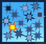 Quilt Design A Day QDAD Inkscape Street lamp snow blue orange yellow 8 pointed wonky star