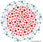Quilt Design A Day QDAD Inkscape Stars circle red white blue mosaic