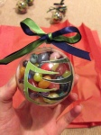Glass plastic acrylic ornament ornaments Christmas DIY tutorial how to make an ornament Seahawks Skittles Enroute Mod Podge Galaga blue green ribbon