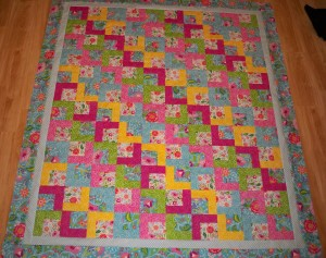 Floral Whimsy bright abstract floral quilt quilts purple pink green