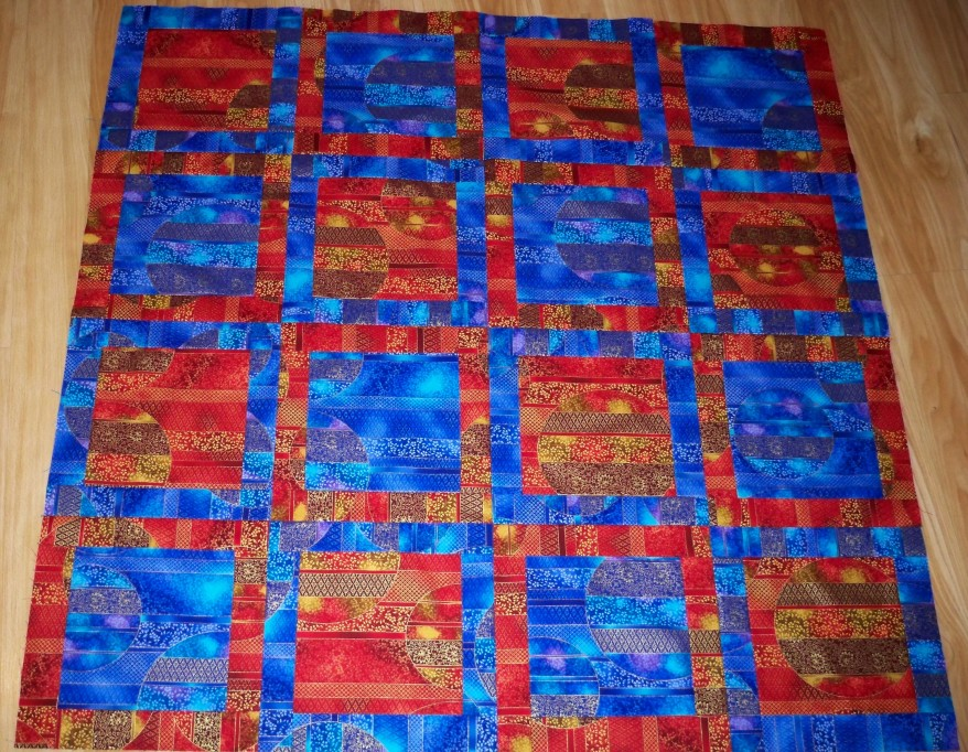 Potato Chip quilt Asian fabric blue red