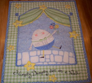 Baby boy quilt minky panel Humpty Dumpty nursery rhyme star