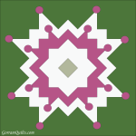 Quilt Design A Day QDAD Inkscape Flower Radiating Block Applique Circle Green pink white