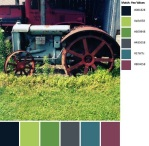 Quilt Design A Day QDAD Inkscape tractor truck garden pink blue grass