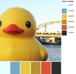 Quilt Design A Day QDAD Inkscape Giant rubber duckie ducky duck crane bridge