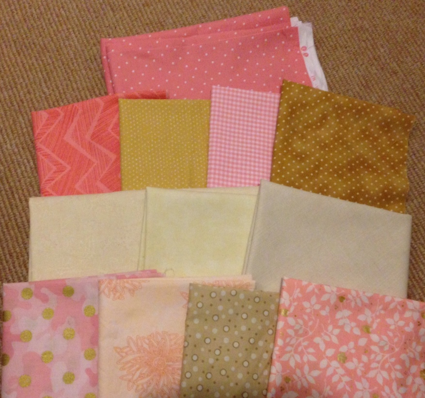 Pastel wedding color palette pink brown tan wedding quilt guest book quilt layout Inkscape Rail Fence signature block blocks photo fabric Pacific Fabrics Dots Zig Zag Flowers