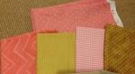 Pastel wedding color palette pink brown tan wedding quilt guest book quilt layout Inkscape Rail Fence signature block blocks photo fabric Pacific Fabrics Dots Zig Zag Flowers