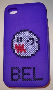 iPhone Android smartphone cross stitch case Mario Boo Mario Kart Mario Party ghost video game NES SNES Wii