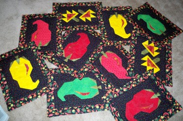 Placemat placemats place mat place mats chili pepper cactus cacti flower flowers southwest southwestern paper piecing pepper peppers