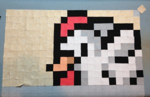 Sprite Stitch SpriteStitch KG Cross Stitch PC Stitch NES SNES Link Zelda Link to the Past Cucco Cuccos Chickens Attack cross stitch quilt pattern stitch-along quilt-along QAL shape cut ruler June Tailor fast rotary cutting Pellon 906F Fusible Interfacing web Steam-a-seam