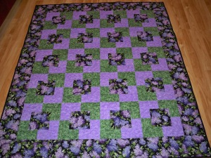 Singular Sensations square in a square square-in-a-square purple green flowers black easy quilt quilts