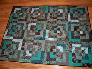 teal brown strip quilt bento box batik