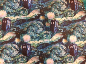 Doctor Who Dr Who Tardis retro apron blue green teal ruffle trim full apron batik