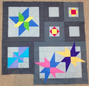 Star Gazing BOM Block of the Month Solid Solids Swan Amity Studios Bella Girls American Brand Solids Seattle WA Clothworks Kona Cottons Hoffman Solids Paper Piecing pinwheel spinning star
