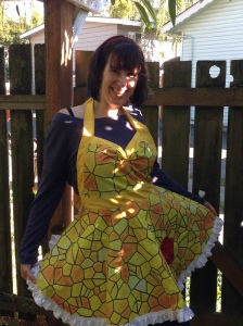 Beauty and the Beast Belle Apron yellow dress stained glass red rose