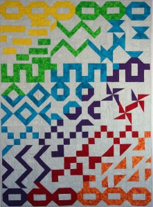 Block of the Week BOW Block of the Month BOM rainbow diagonal bright white grey background grunge fabric