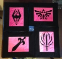 Skyrim Legend of Zelda Fire Emblem Dragon Age placemats Michael Miller black Kona cotton placemat placemats fusible applique