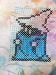 Black Mage pillow cases pillowcases sprite cross stitch batik Dritz washable marking pen blue