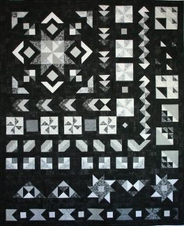 Star in the West Monsoon sunset Black white shades of grey quilt along block of the month BOM 2016 geometric pinwheels stars