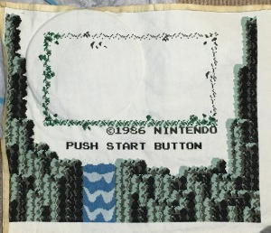 Zelda NES Waterfall title screen cross stitch