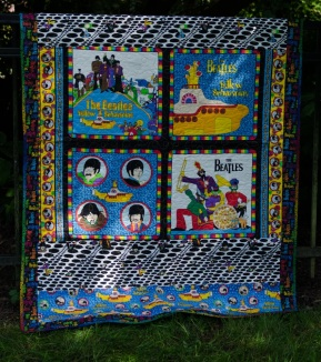 Beatles All You Need Is Love Yellow Submarine finished quilt blue rainbow Paul McCartney John Lennon Ringo Star George Harrison blue meanie Cranston VIP fabric