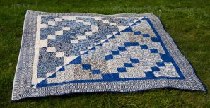 Blue and white beige batik quilt reversible inverted pattern finished quilt