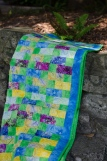 Yellow Brick Road finished quilt strip quilt Moda Marbles blue green yellow leaf leaves
